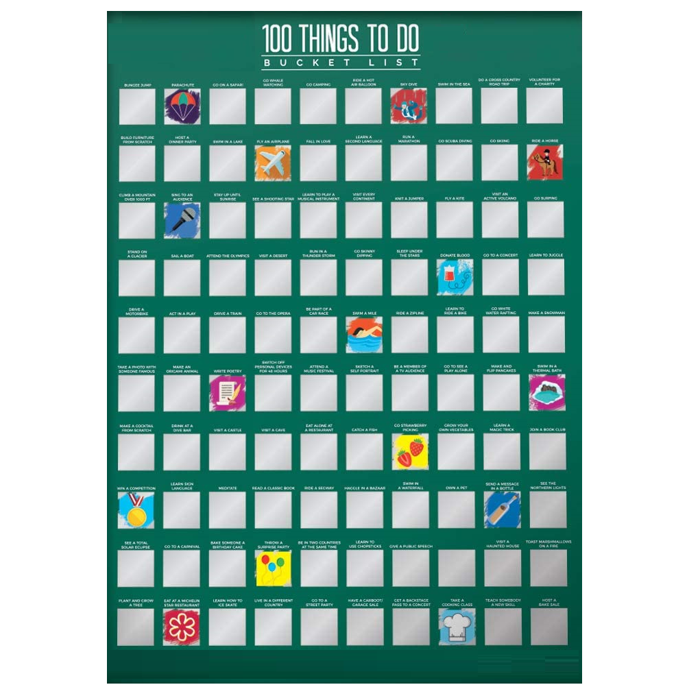 100 Things To Do Scratch Off Bucket List Motivational Posters For You