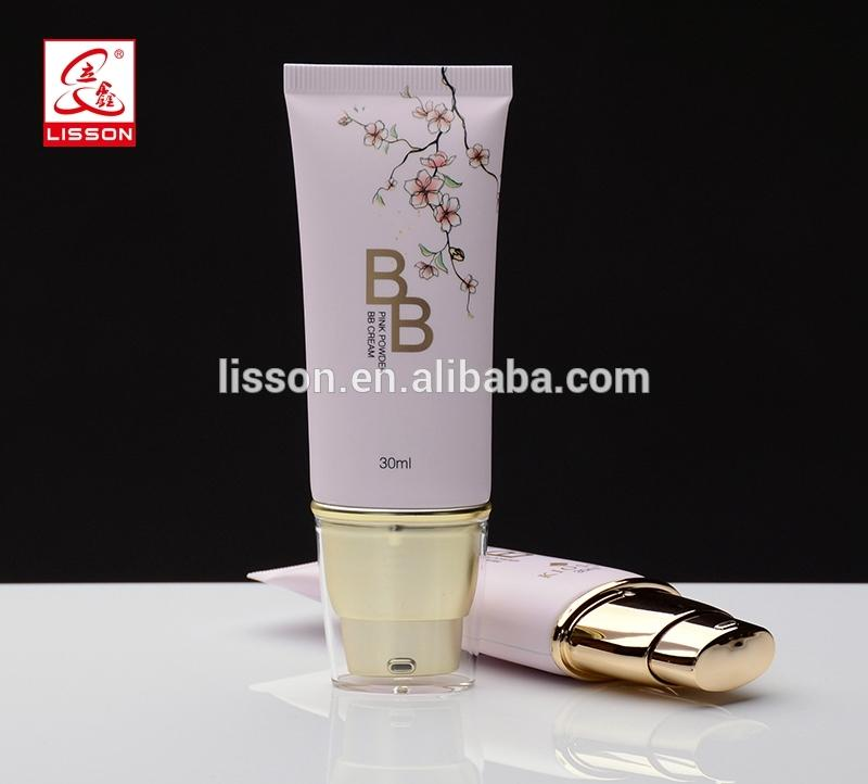 Cosmetic Plastic BB Cream Oval Tube With Metallized Pump Head