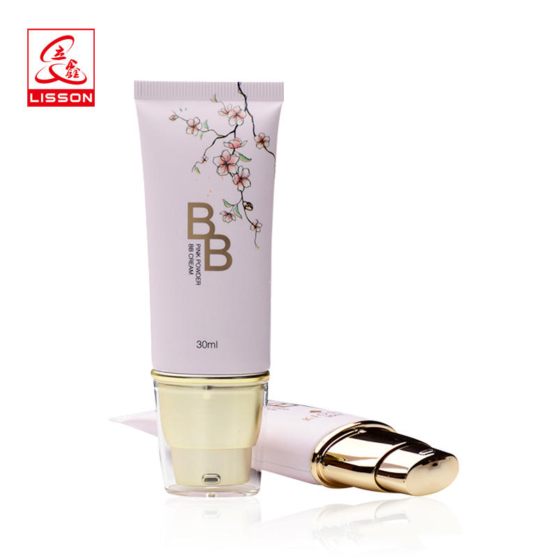 40mlwholesale cosmetic makeup BB cream packaging tube with pump applicator