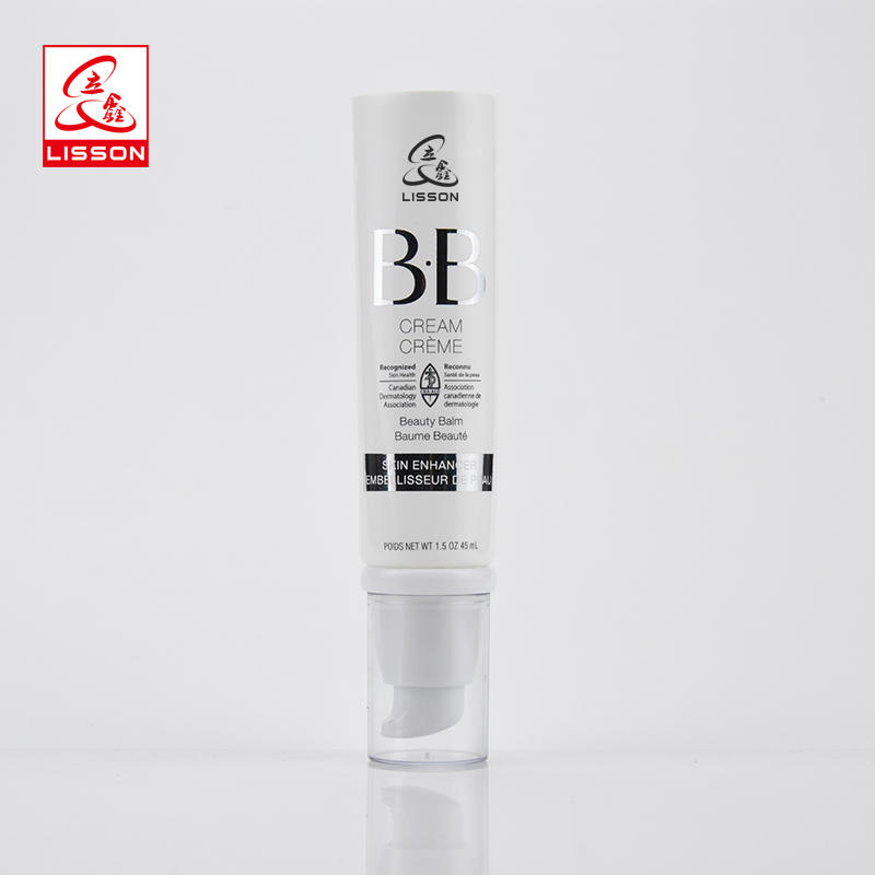 Airless Pump Cosmetic Tube Packaging With White Airless Pump For BB Cream