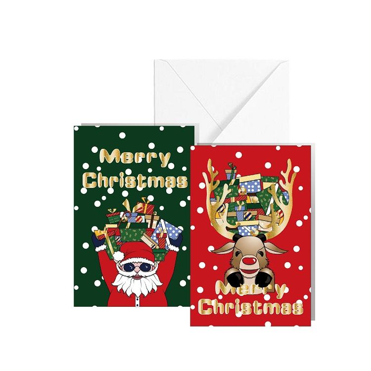 Funny Santa Claus Gold Foil Printing Design 4X6 Merry Christmas Cards With Envelope