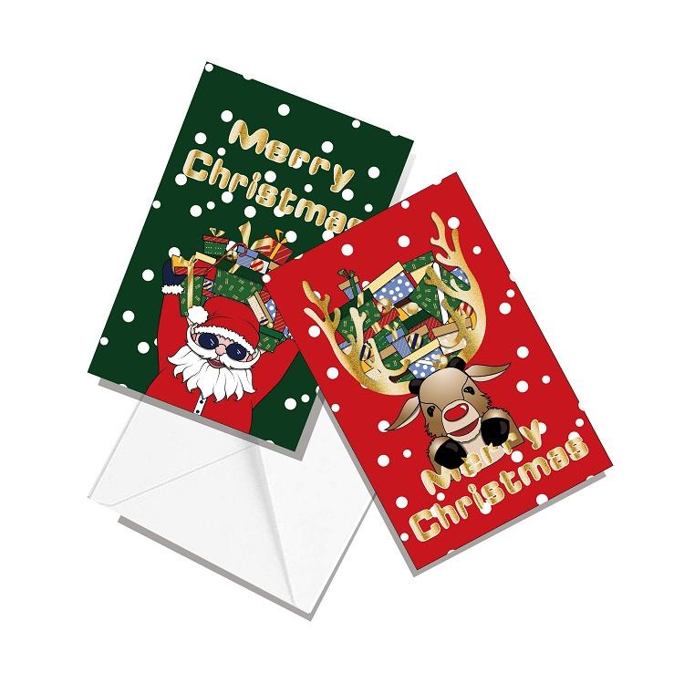 product-Dezheng-Funny Santa Claus Gold Foil Printing Design 4X6 Merry Christmas Cards With Envelope--1