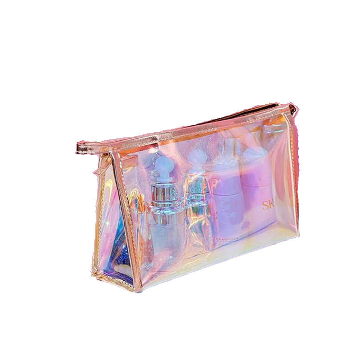 2020 new 1 Pc Colorful Holographic Women Cosmetic Bag TPU Clear Makeup Bag Beauty Organizer Pouch Travel Clear Makeup Kit Case