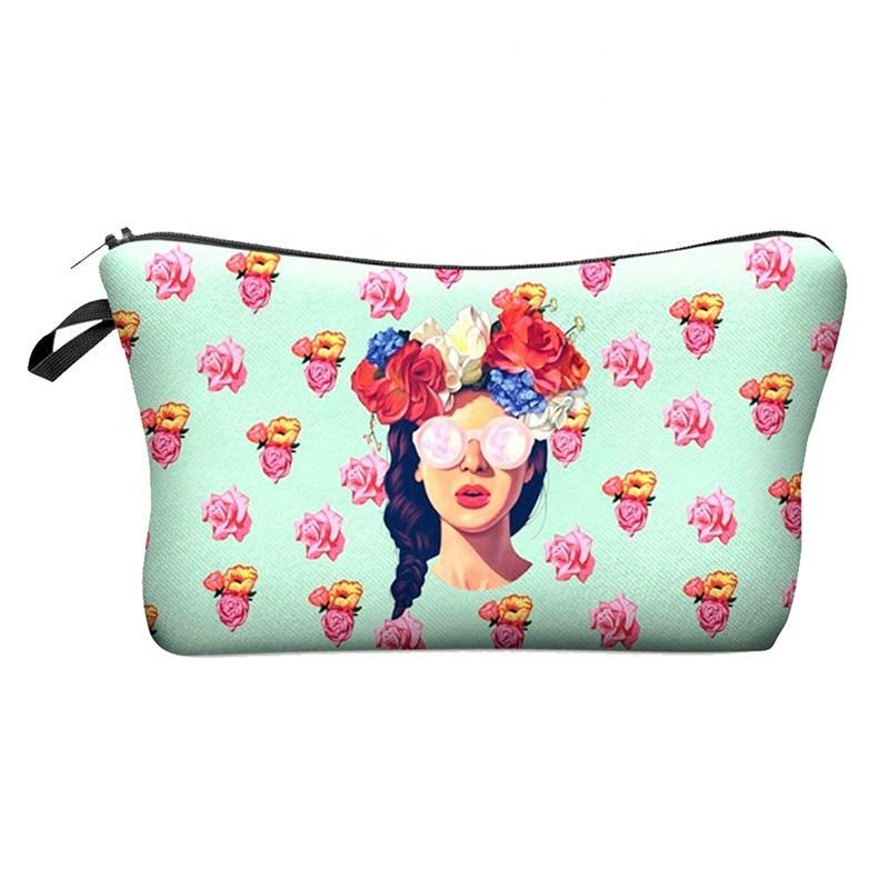 Color fashion printing PU girls cosmetic bags travel shopping makeup bag for women Portable toiletry wash bag case wholesale