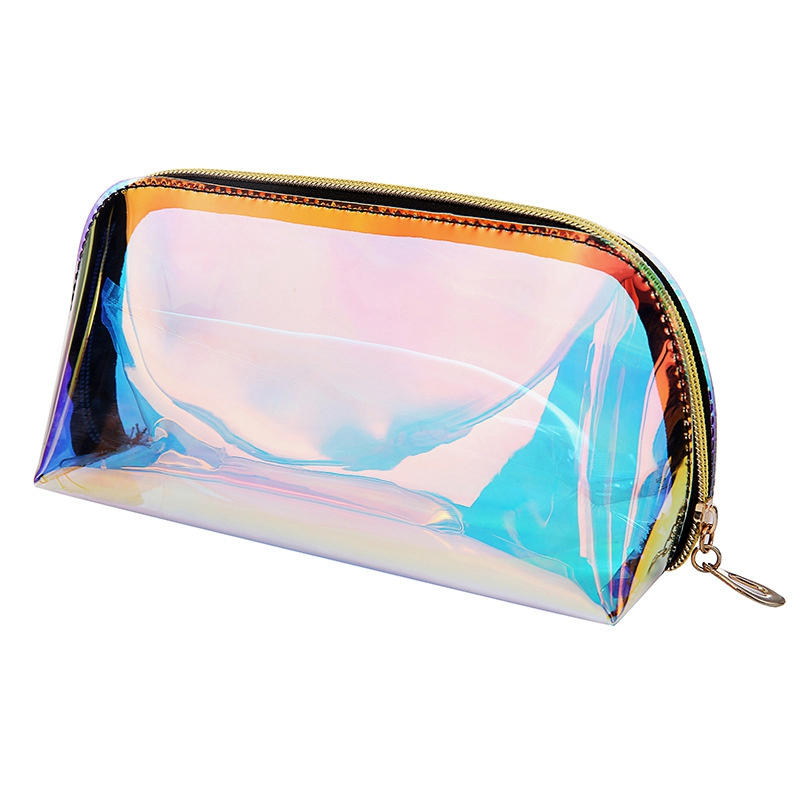 Fashion Women Makeup Case Laser Cosmetic Bags Transparent Cosmetic Pouch Ladies Jelly Bag Portable Make Up Pouch Organizer