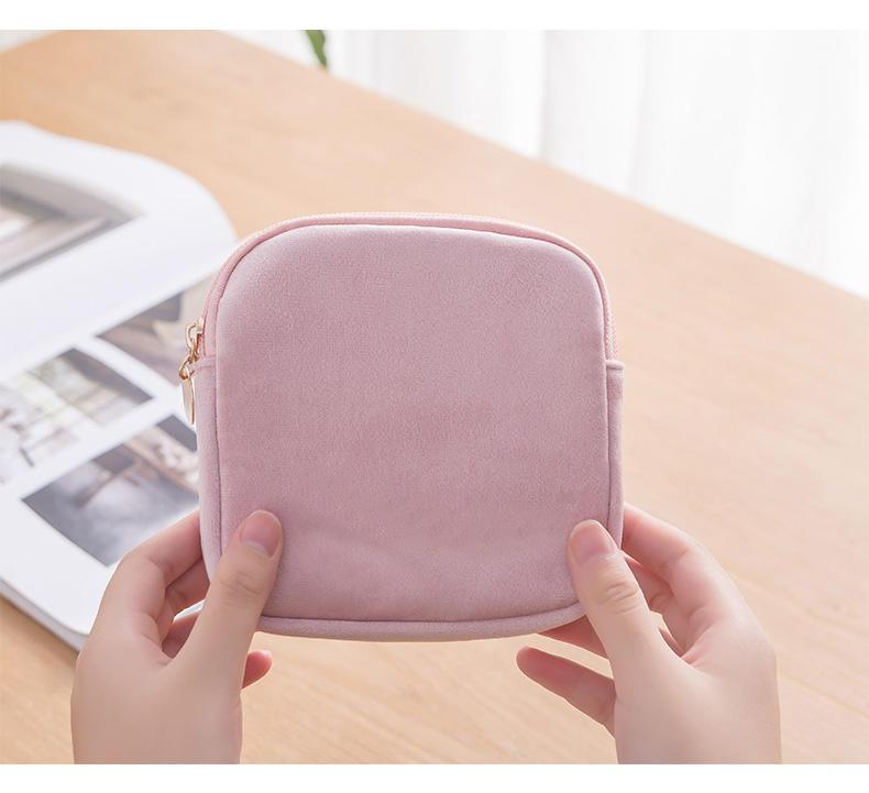 Women Cosmetic Bag Soft Velvet Make Up Storage Bag Pads Toiletry Package Travel Makeup Bag Organized Waterproof travel cosmetic