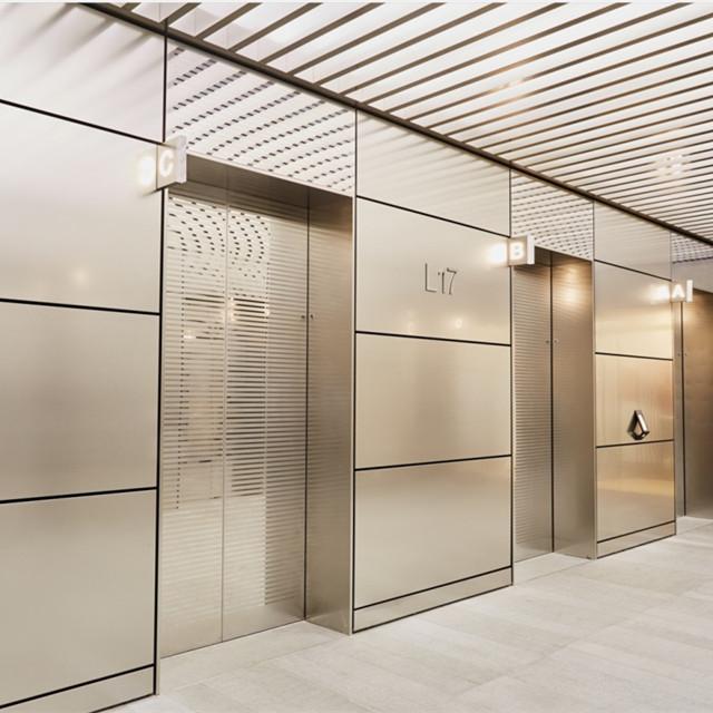 Door frame and elevator hall decoration works elevator door wall cladding