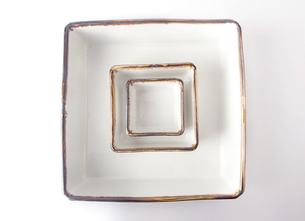 simply color glaze banquet restaurant fine dining square bowl