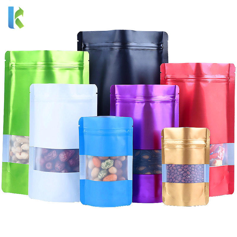Colorful Aluminum Foil Doypack Reusable Clear Window Packaging Bag Plastic Mylar Pouches with Zipper