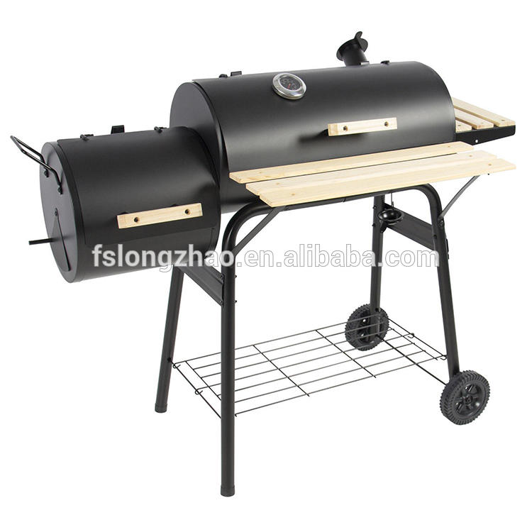 No smoke trolley with side bbq smoker cast iron indoor charcoal grill