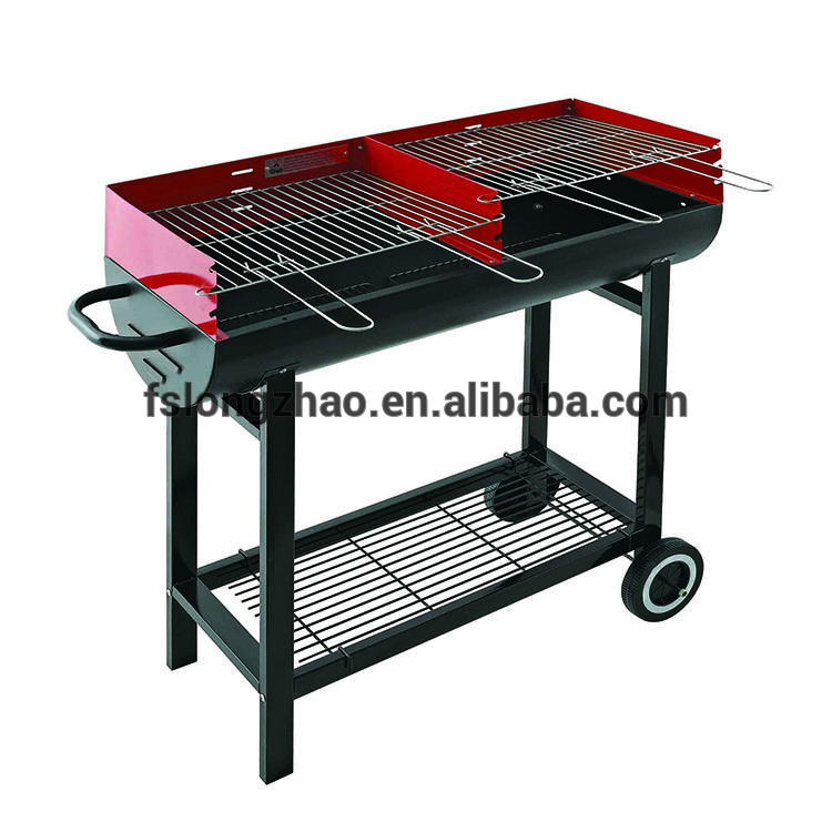 Trolley double sides outdoor charcoal bbq grill