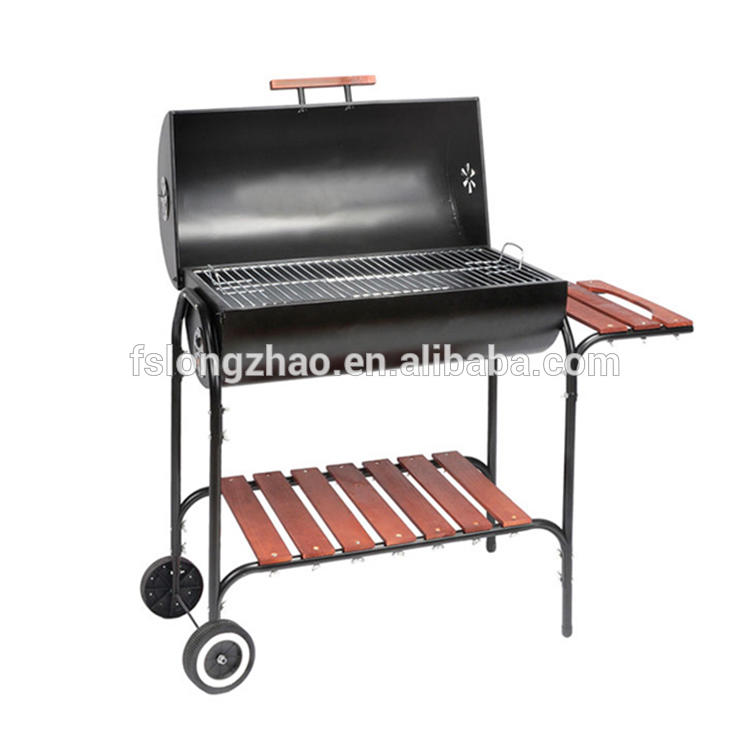 2018 new design trolley charcoal steam smoker grill