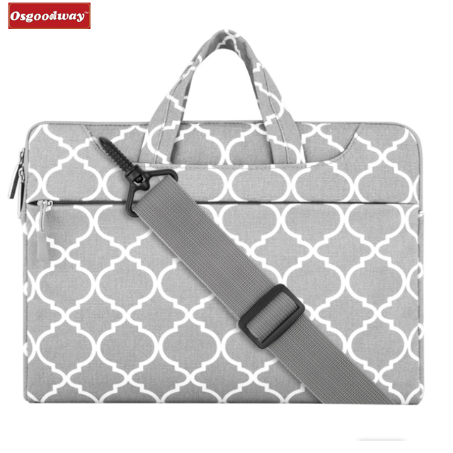 Osgoodway New Products Simple Style Canvas Fabric Women Laptop Sleeve Tote Bag with Shoulder Strap