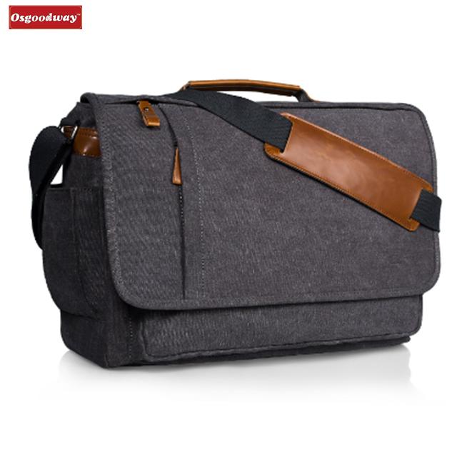 Osgoodway High Quality Wholesale 17 inch Men Business Work Briefcase Canvas Laptop Shoulder Bag for Work Travel