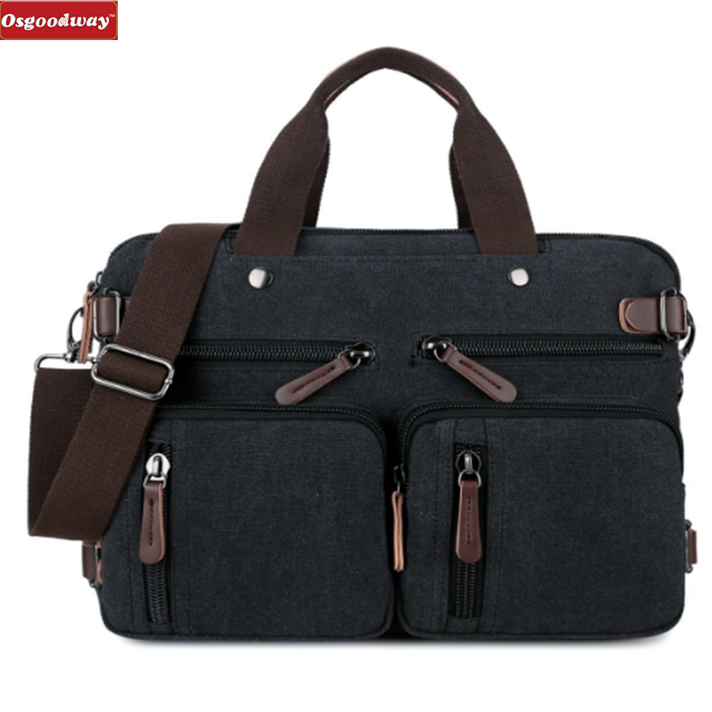 Osgoodway Hot Sale Convertible Luxury PU Leather Men's Laptop Bag Messenger Briefcase for Business Trip