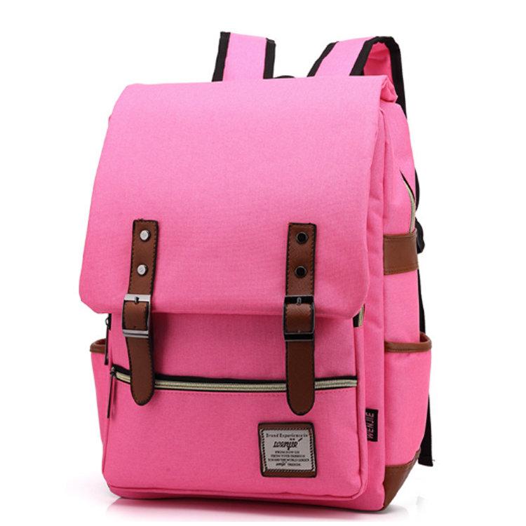 Osgoodway2Pink Unisex College Bag Laptop Casual Rucksack Waterproof School Backpack