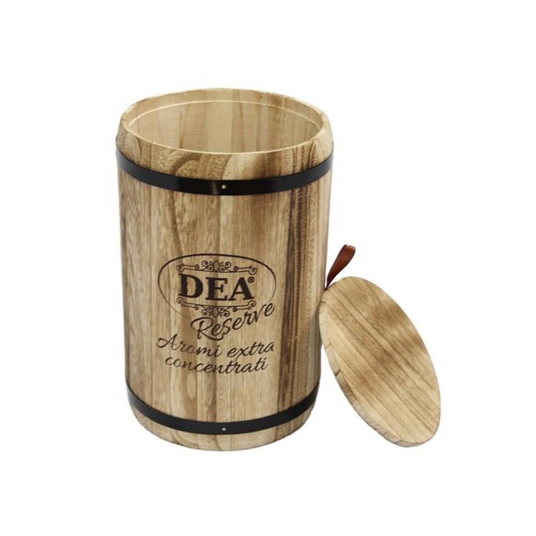 handmade vintage style large paulownia barrel with lid,custom logo size wooden barrel packaging 18x18x27cm