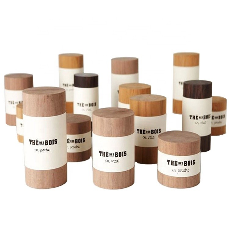 Good Quality Custom Wooden Tea Storage Box jar Canister Cask for Tea Coffee Candy