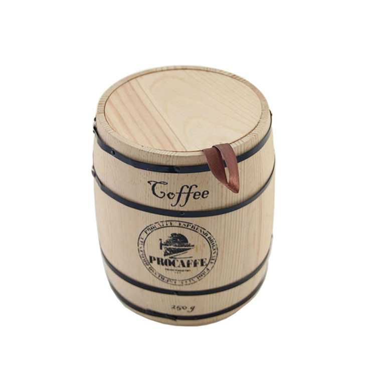 Wholesale unfinished empty wooden barrel packaging coffee tea natural color wood package jar