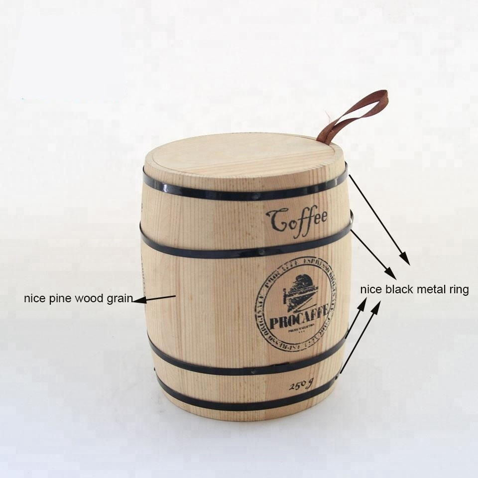 Modern style Wholesale plain color Small Wooden Barrel Coffee box