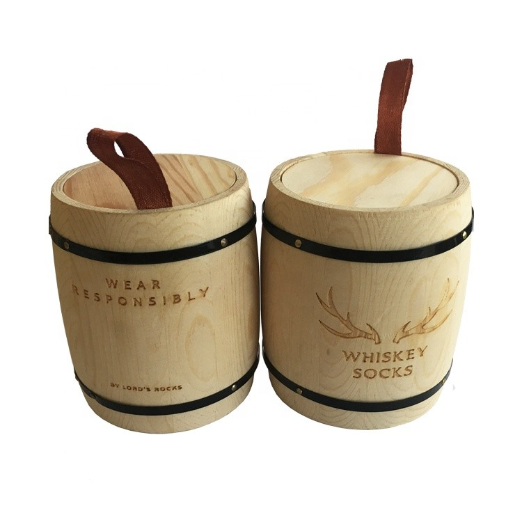 natural color vintage small mini decorative wooden coffee bean barrel storage container wholesale