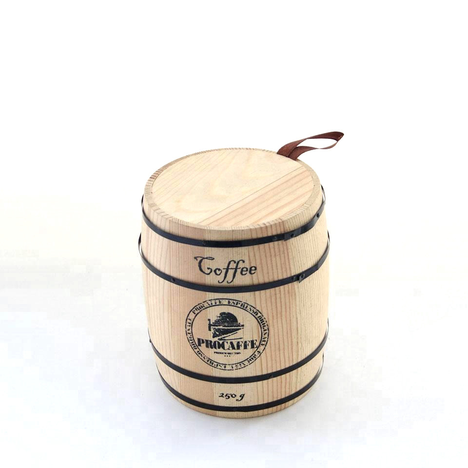 Natural simple useful wood coffee bean wooden canister for sale