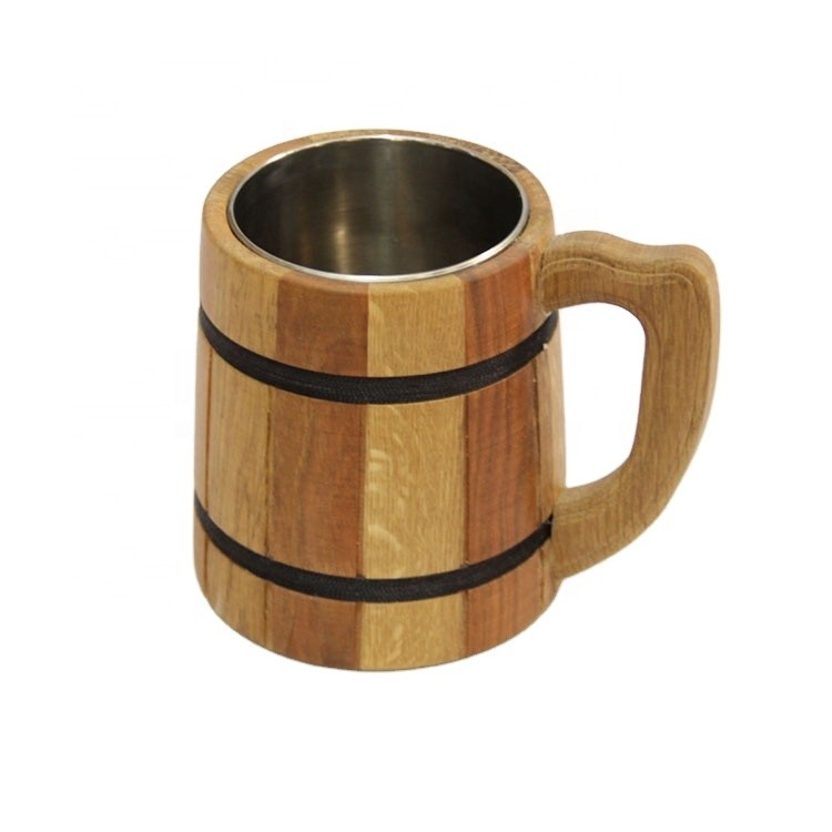 Morden Art Handmade Wood Stainless Steel Beer Cup for Gift,Vintage Style Wooden Cup