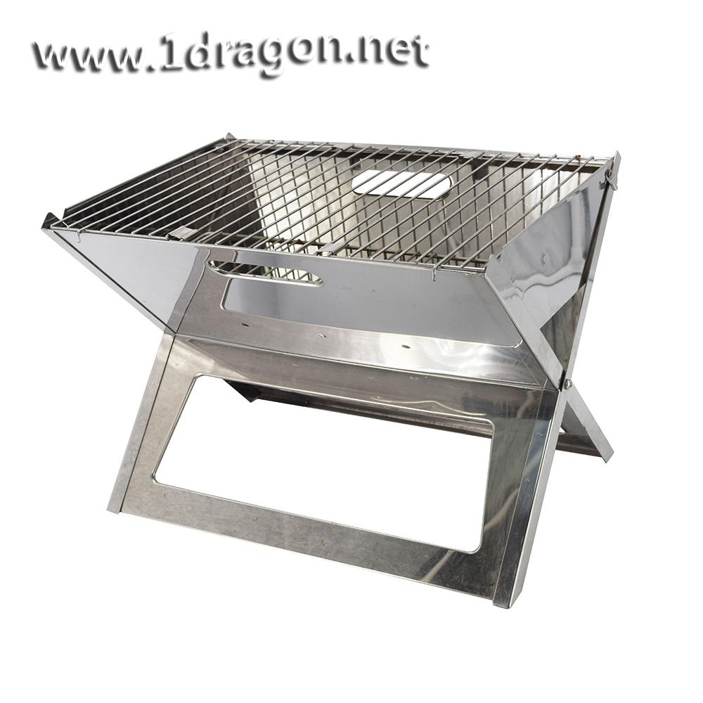 stainless steel portable grill easy carrying foldable portable bbq grill charcoal barbecue grill