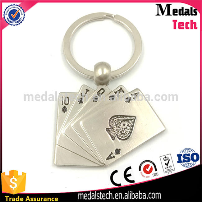 Hot selling fashion zinc alloy silver plated metal casino poker with rond keyring