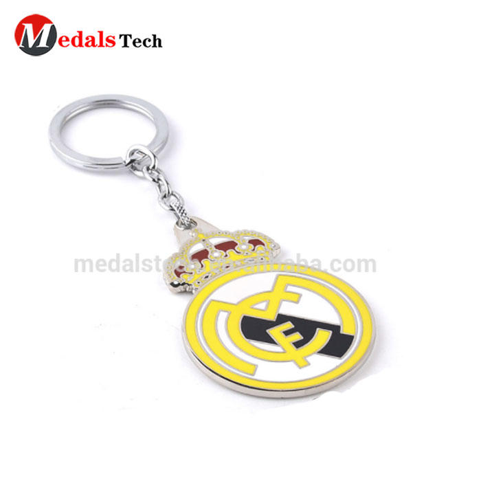 Luxury Design Your Own Logo hard enamel Metal football club keychain
