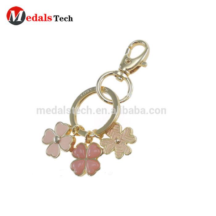 Colorful enamel custom design flower charm novelty keychains/keyrings metal
