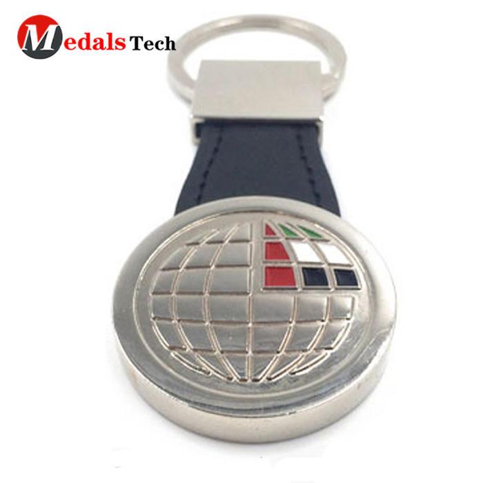 Hotselling soft enamel round laser logometal keychain