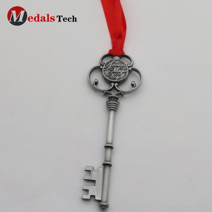 Christmas Monogram Antique Silver Santa's Magic Key with Red Ribbon