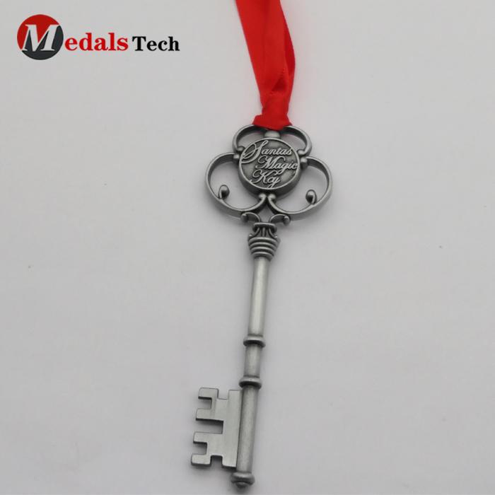 Christmas Monogram Antique Silver Santa's Magic Key with Red Ribbon