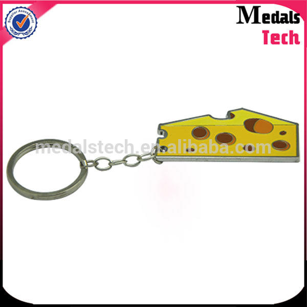 Funny cute cheese shape hard enamel iron material detachable keychains for kinds