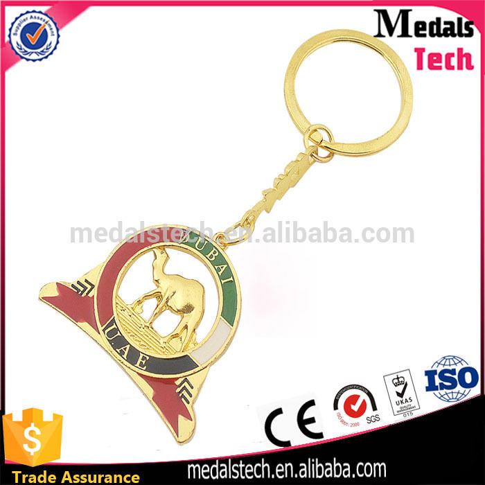 Top quality UAE flag logo Dubai hard enamel round shape camel keychain