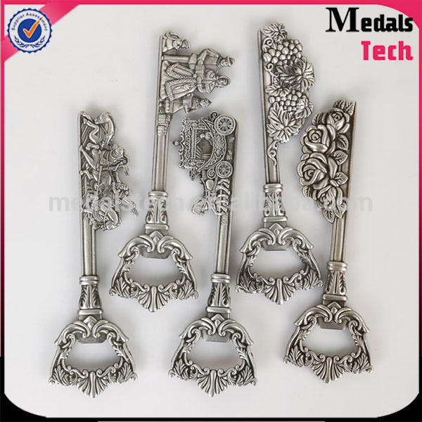 OEM customer designs promotion bulk antique silver magic christmas key with bottle opener