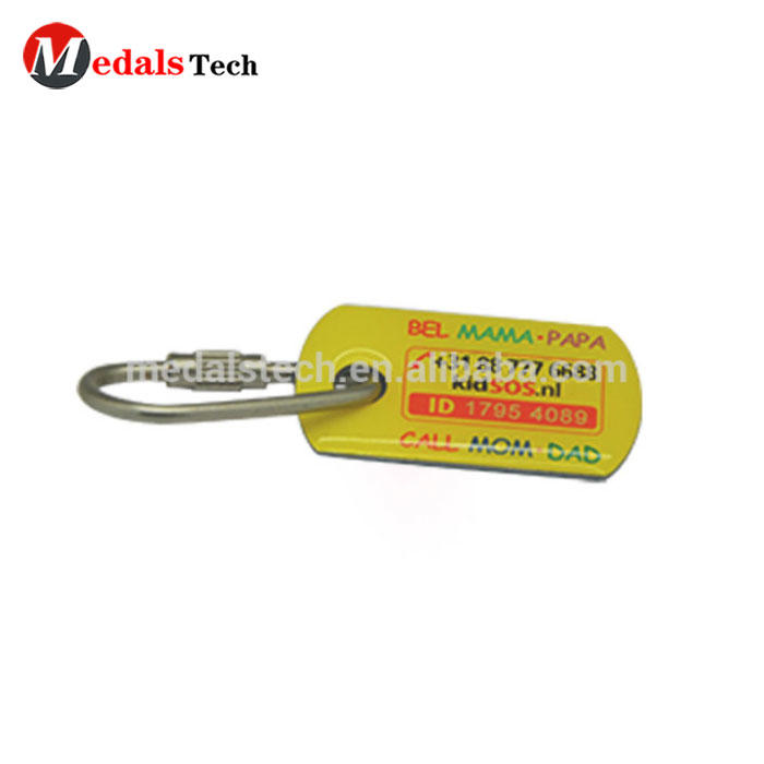 Popular USA style sticker epoxy dog tag keychain with 25mm keyring