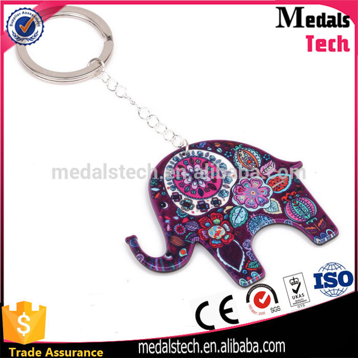 Fashion zinc alloy pewter plated 3d elephant shape metal keychain /key ring