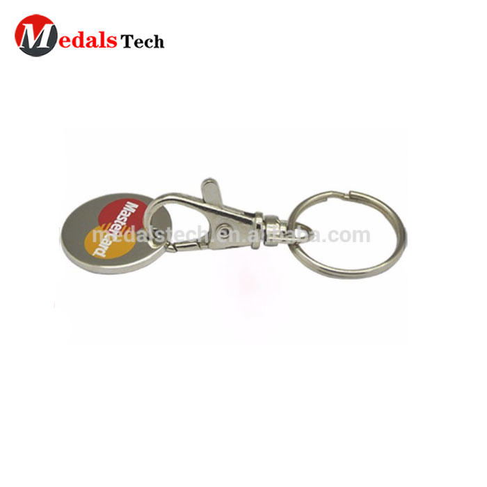 Popular USA style sticker epoxy dog tag keychain with 25mm keyring