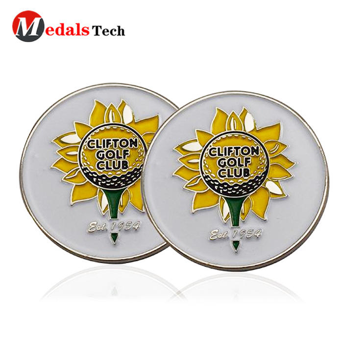Good quality low price personalized metal crystal golf ball marker with custom logo