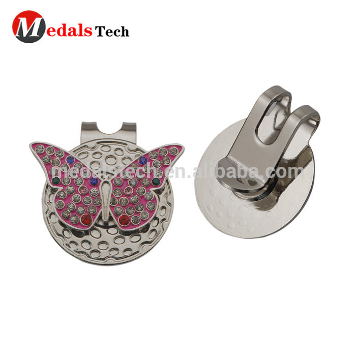Hot sale crystal cheap metal custom butterfly magnetic hat clip ball marker