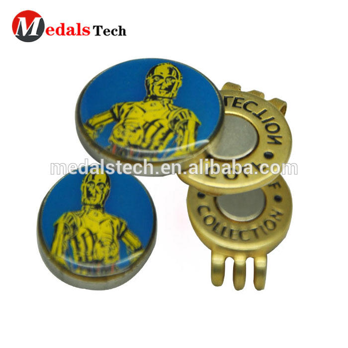Promotion silver plated enamel metal golf cap clip with ball marker