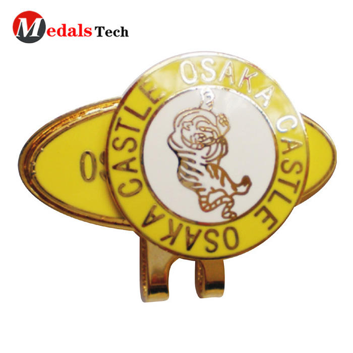 Wholesale custom logo gold golf cap clip and magnet ball marker set