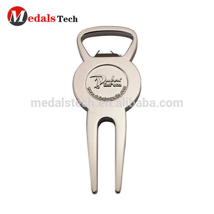 Custom metal free design in stock golf divot tool bottle opener for promotion