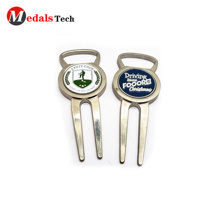 Custom logo blank magnet golf divot tool with golf ball marker