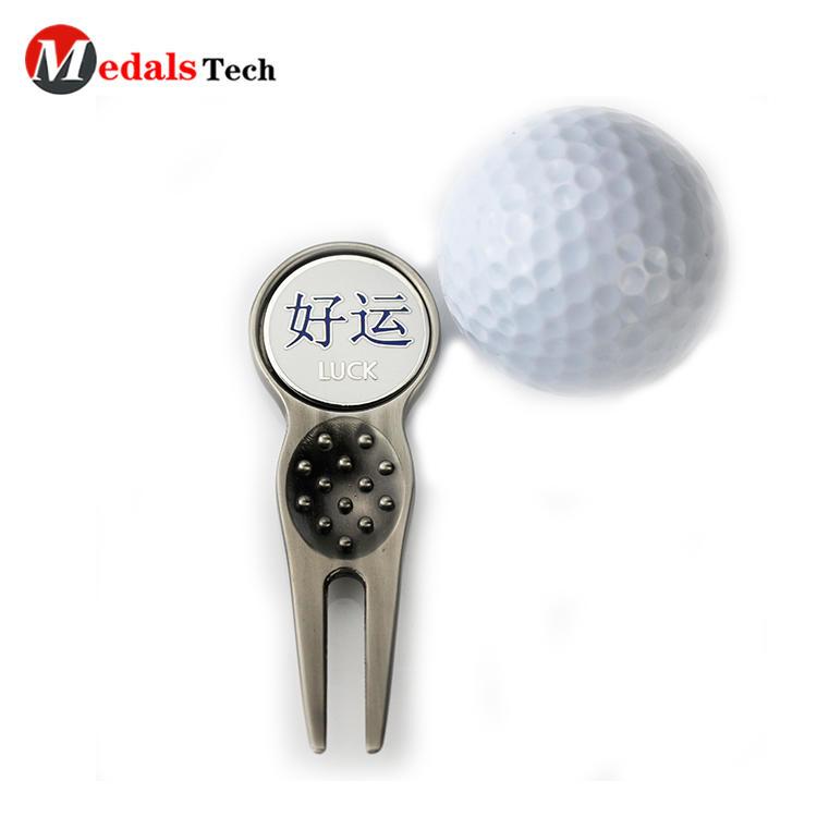 DIY customization logo antique gold club magnet ball marker blank bulk golf divot tool