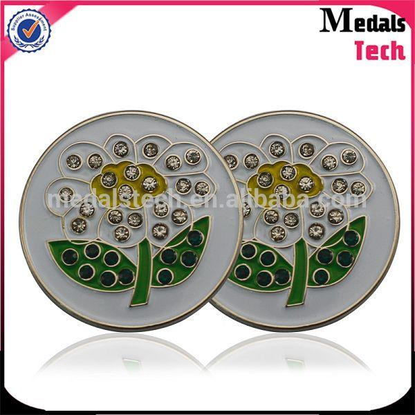 Factory price magnetic golf ball marking tool with color filled logo