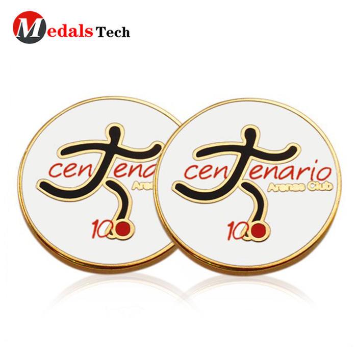 China manufacturer gold custom sports magnet metal golf ball marker
