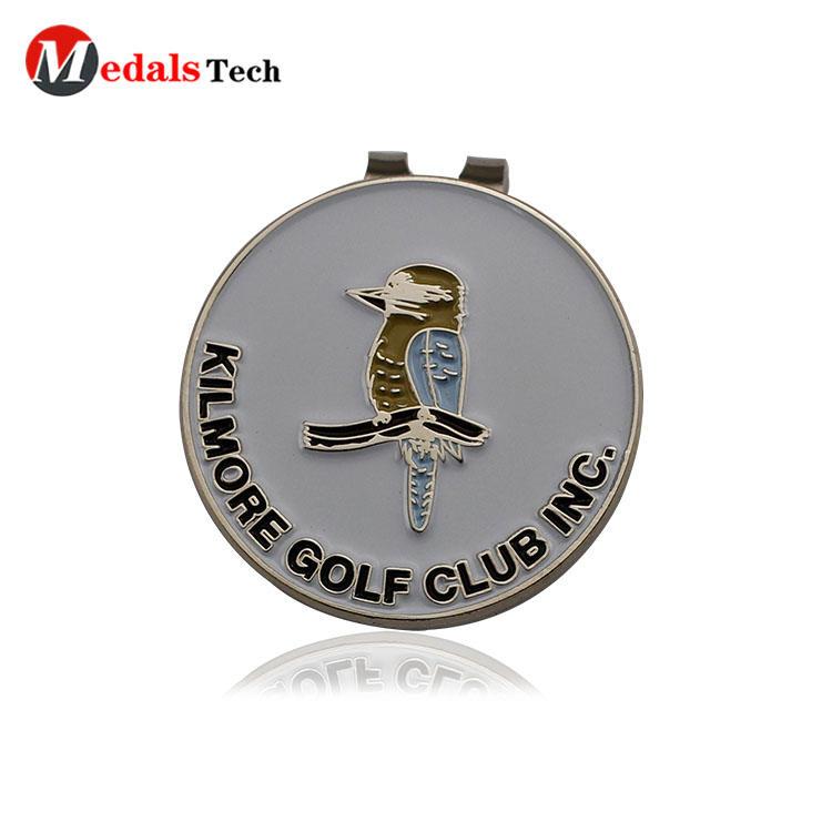 Custom durable enamel safepin metal badge golf ball marker